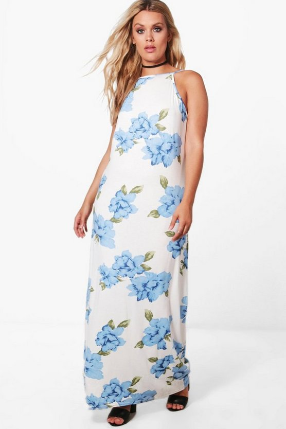 Plus Georgia Floral Open Shoulder Maxi Dress