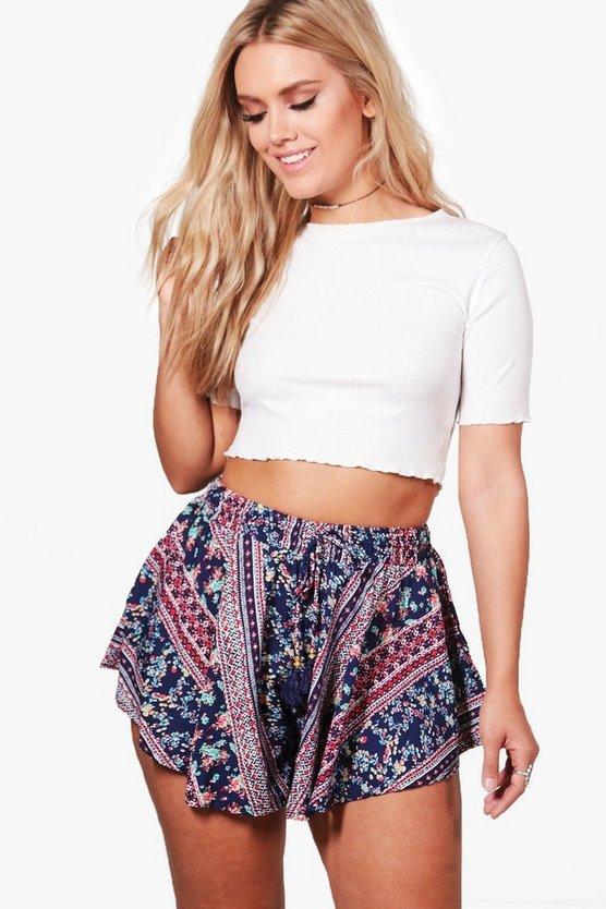 Plus Scarlett Printed Tassel Trim Short