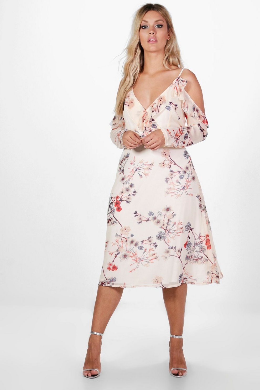 Boohoo Chiffon Floral Midi Skater Dress Popular For Sale Pictures Cheap Online I1IeB1r7Us