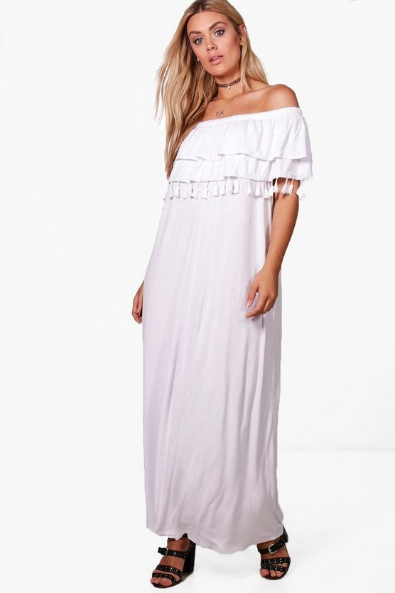 Plus Liza Double Layer Tassel Trim Maxi Dress