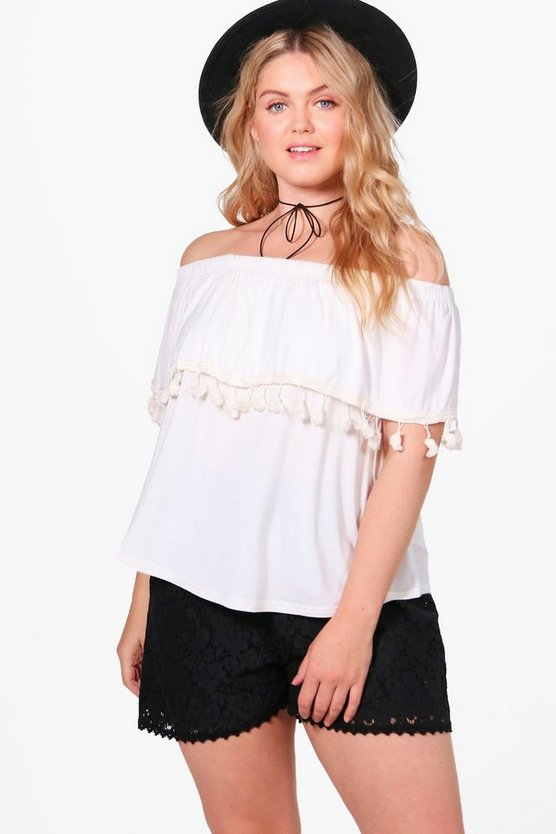 Plus Melissa Off The Shoulder Tassel Trim Top