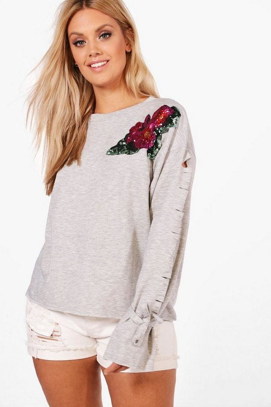 Plus Katie Sequin Detail Sweat