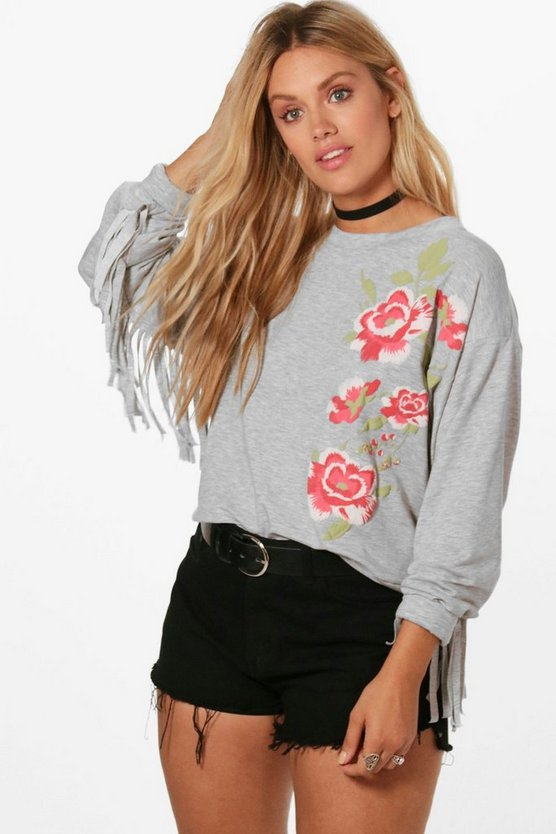 Plus Gracie Printed Tassel Sweat Top