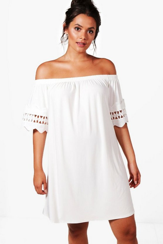 Plus Sofia Off The Shoulder Crochet Trim Dress