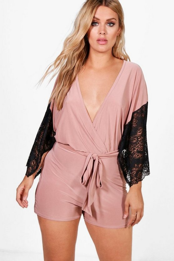 Plus Molly Lace Wrap Slinky Playsuit