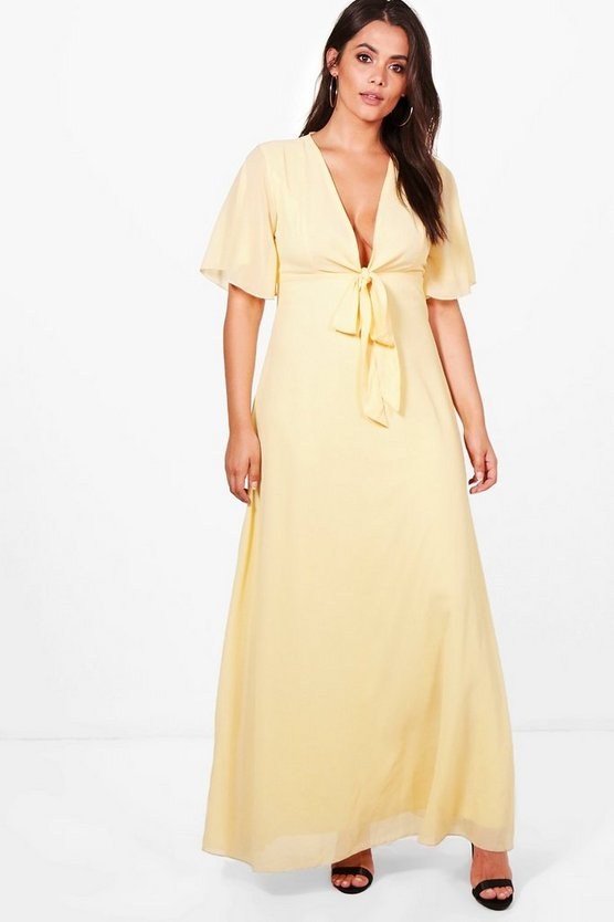 Plus Jemima Bow Front Sleeve Chiffon Maxi Dress