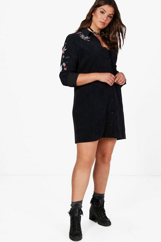 Plus Alexia Cord Embroidered Shirt Dress