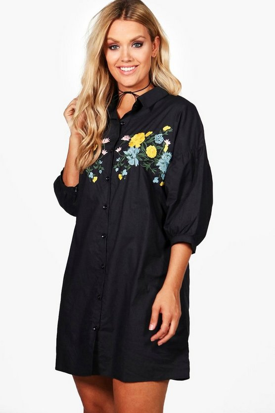 Plus Lottie Embroidered Shirt Dress