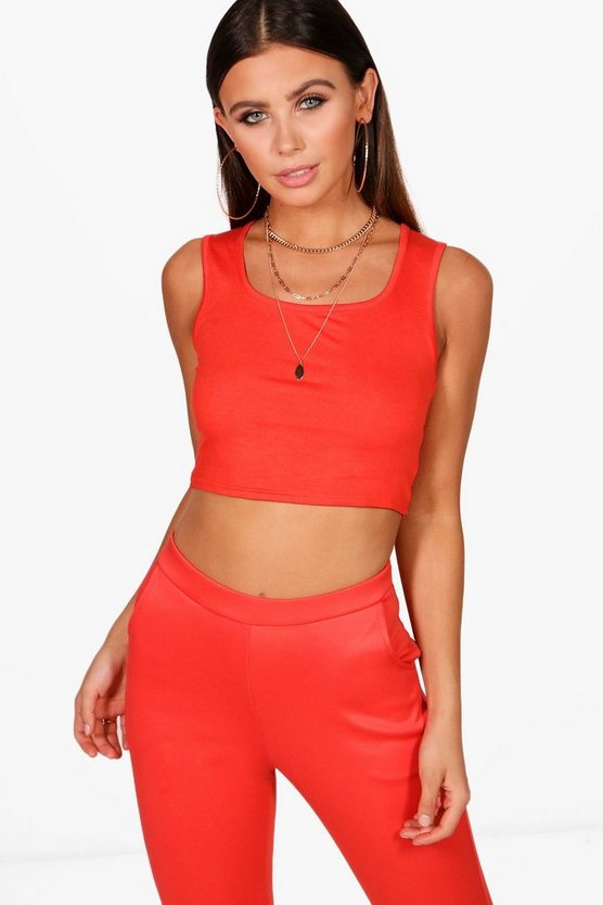 Petite Keira Square Neck Crop Top