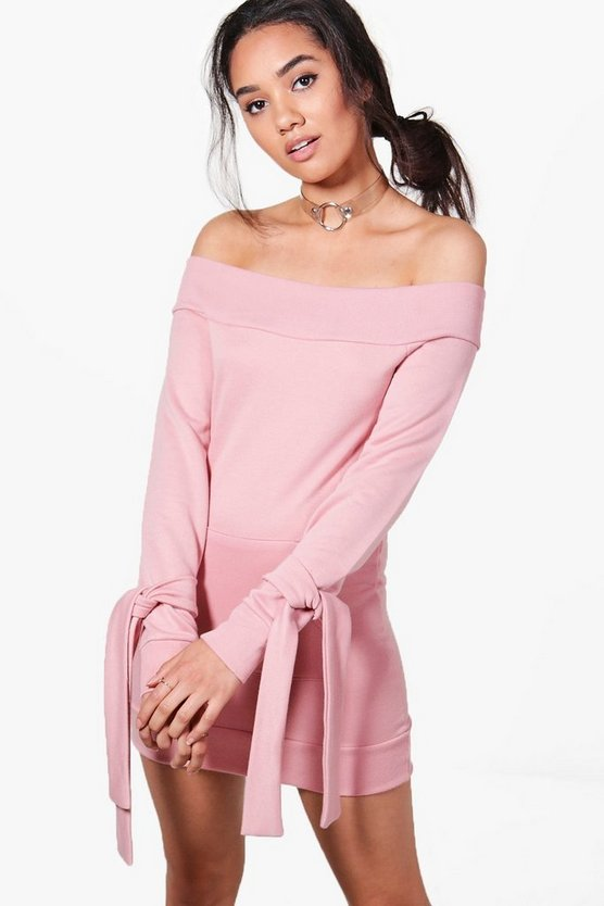Petite Eva Off The Shoulder Tie Sleeve Sweat Dress
