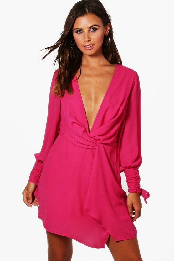 Petite Yazz Ruched Sleeve Wrap Dress