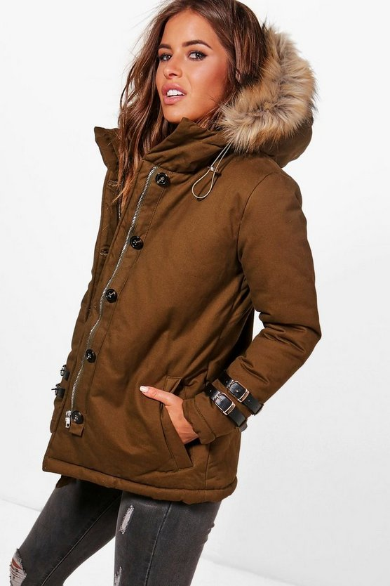 Petite Holly Buckle Detail Faux Fur Hood Parka