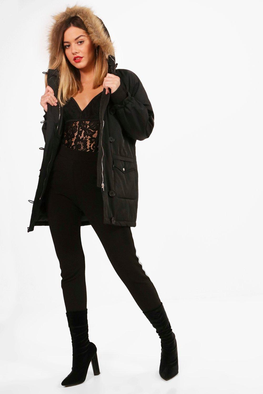 Jane Oversized Faux Fur Hood Parka - black