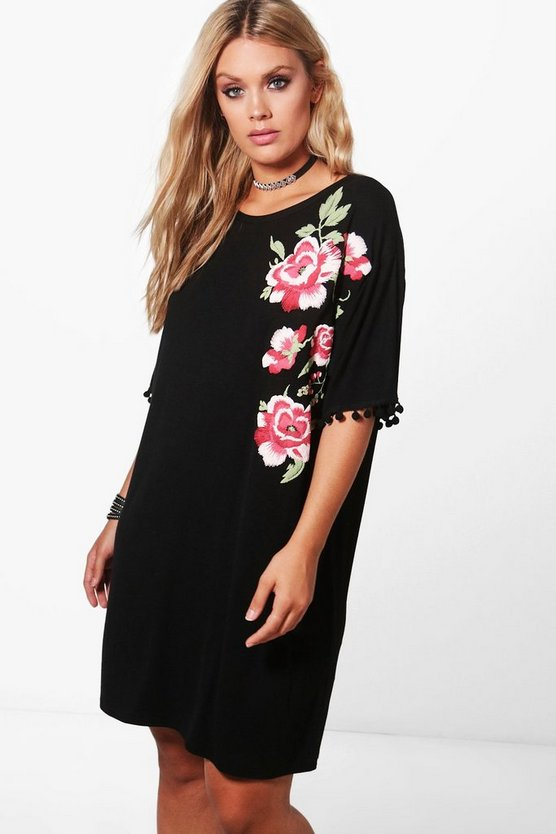 Plus Emma Embroidered Pom Pom Shirt Dress