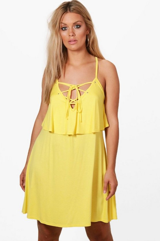 Plus Olivia Lace Up Detail Layer Swing Dress