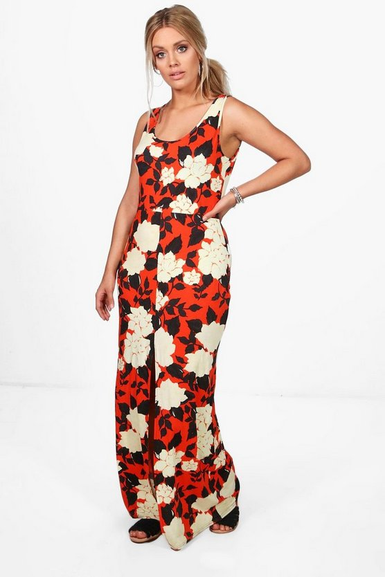 Plus Sophie Strappy Floral Split Front Maxi Dress