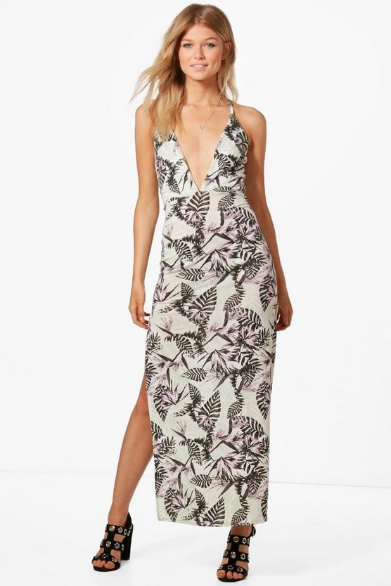 Petite Tiffany Tropical Print Plunge Maxi Dress