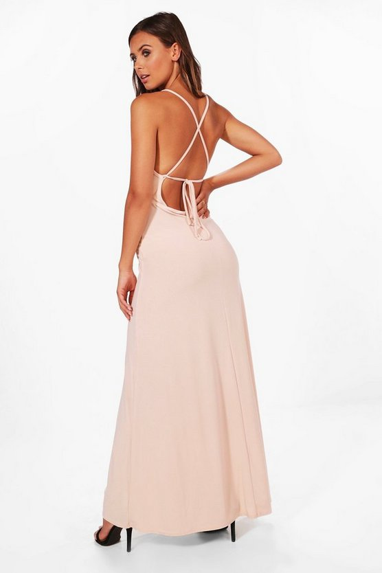 Petite Emma Plunge Strappy Back Maxi Dress