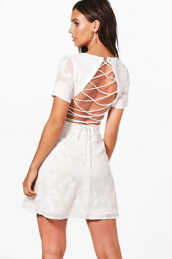 Petite Claire Lace Up Back Skater Dress