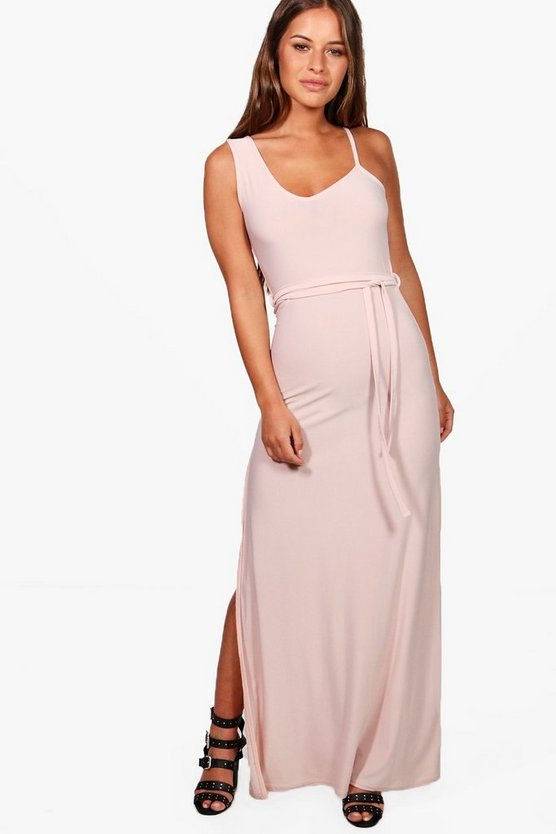 Petite Amy Asymmetric Tie Waist Maxi Dress