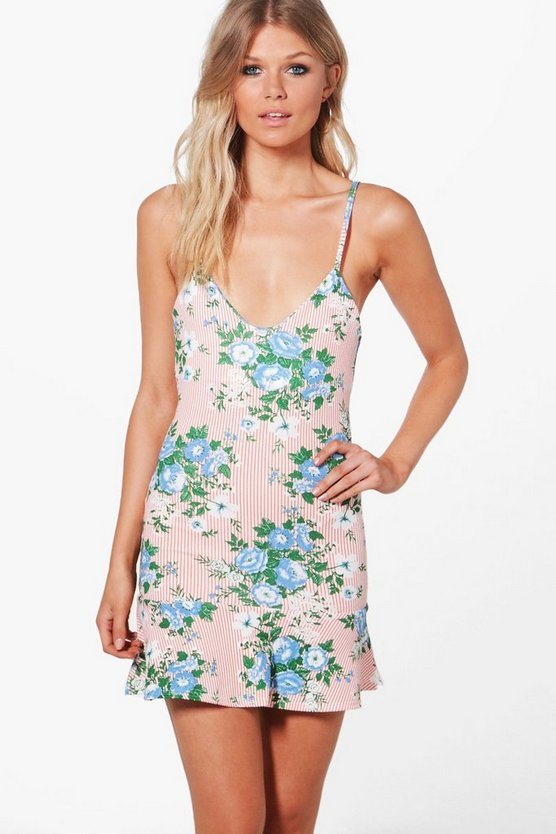 Petite Lola Floral Stripe Strappy Pep Hem Dress
