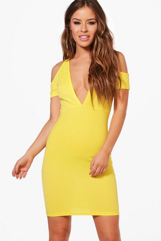 Petite Nicole Plunge Cold Shoulder Bodycon Dress