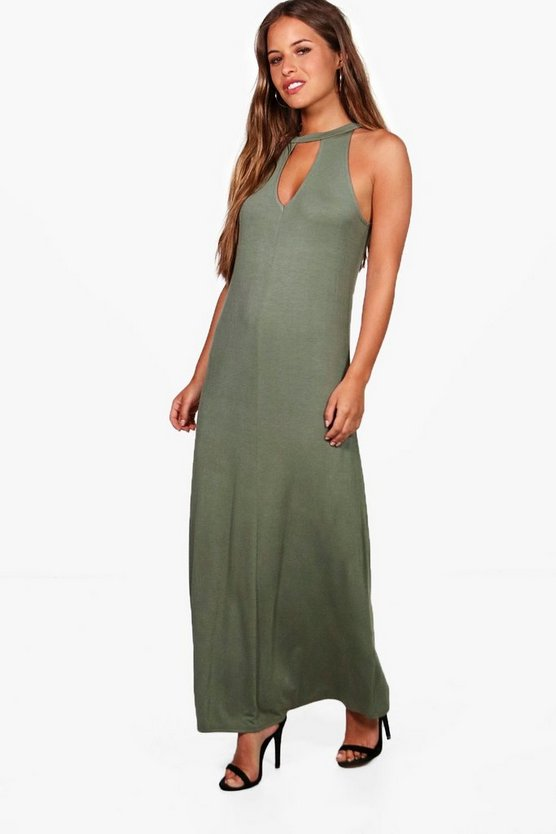 Petite Poppy Tie Neck Cut Out Maxi Dress