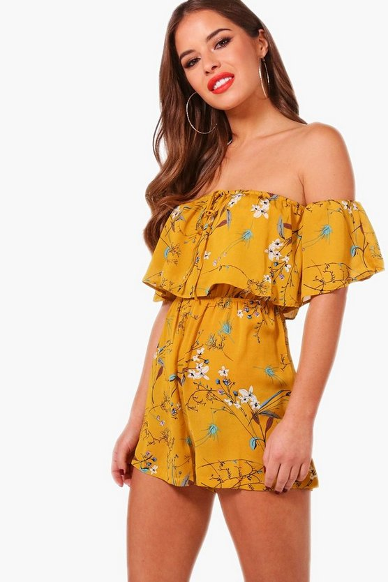 Petite Ella Off The Shoulder Frill Playsuit