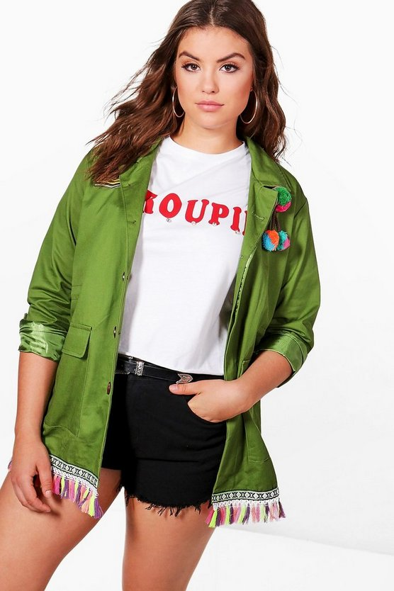 Plus Hope Embroidered Festival Jacket