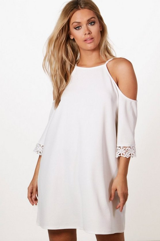Plus Cold Shoulder Crochet Trim Swing Dress