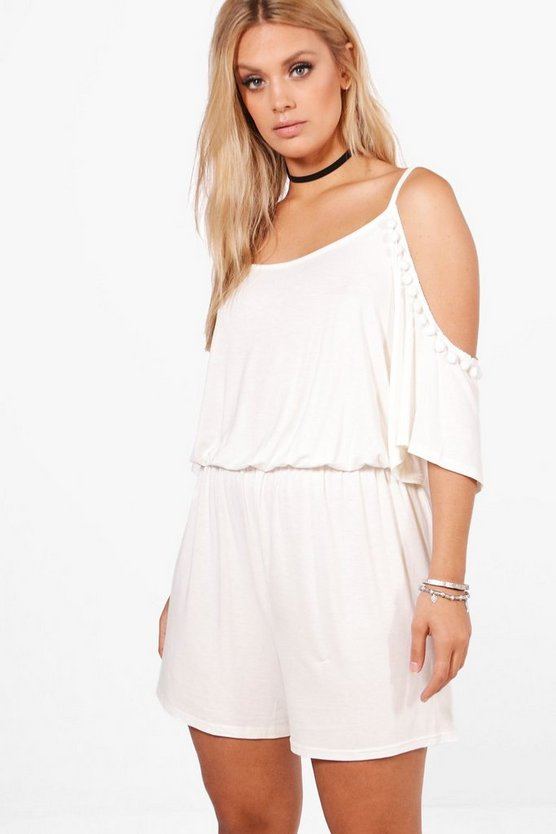Plus Cold Shoulder Pom Pom Playsuit