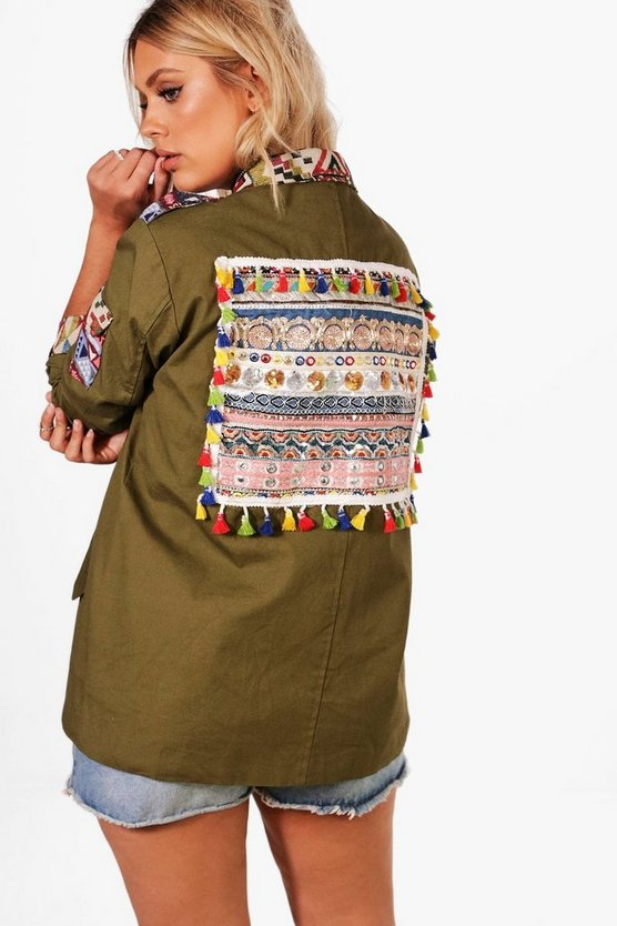 Plus Ivy Embroidered Detail Festival Parka
