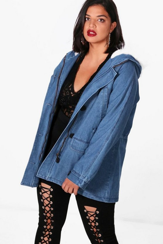 Plus Oversized Faux Fur Collar Festival Shacket