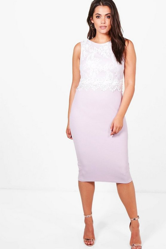 Plus Hana Lace Overlay Midi Dress