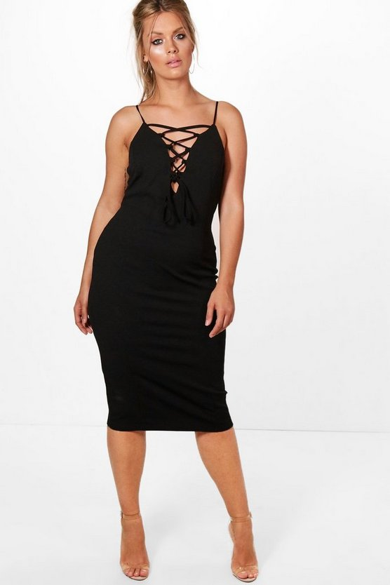 Plus Danielle Lace Up Midi Dress