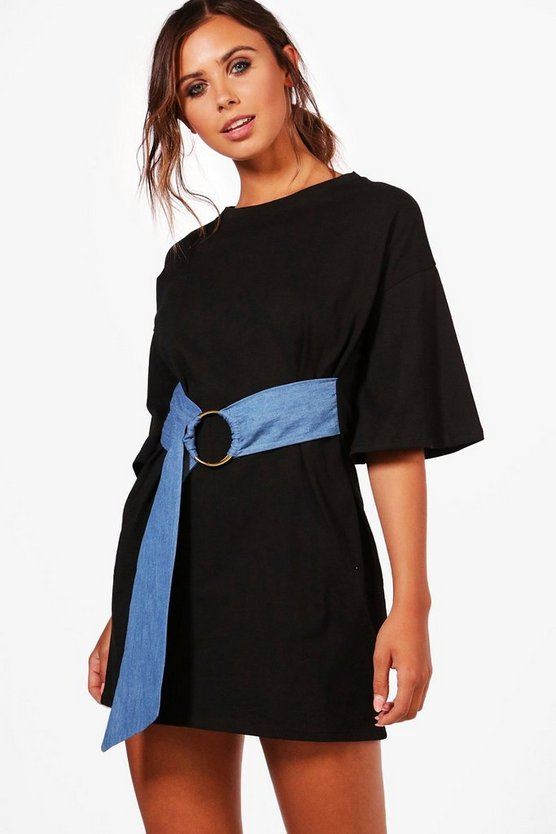 Petite Lydia Denim Belted T-shirt Dress