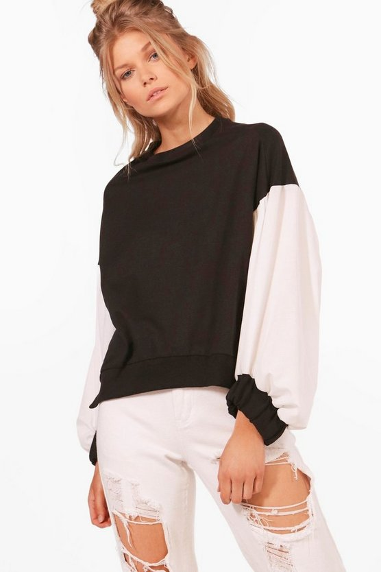 Petite Sophie Oversized Contrast Sleeve Sweat
