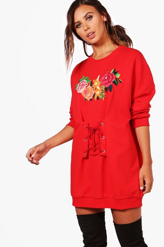 Petite Alice Printed Corset Detail Sweat Dress