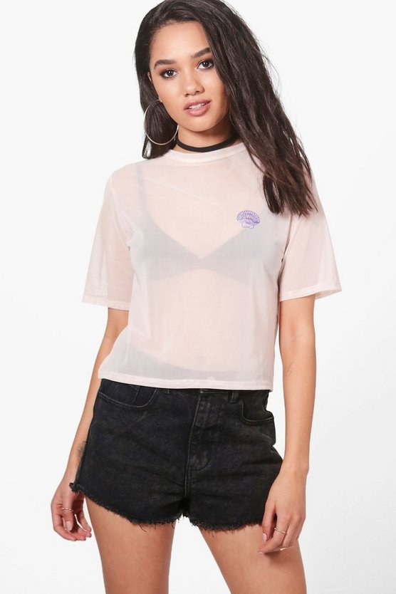 Petite Amber Oversized Mesh Tee With Shell Applique