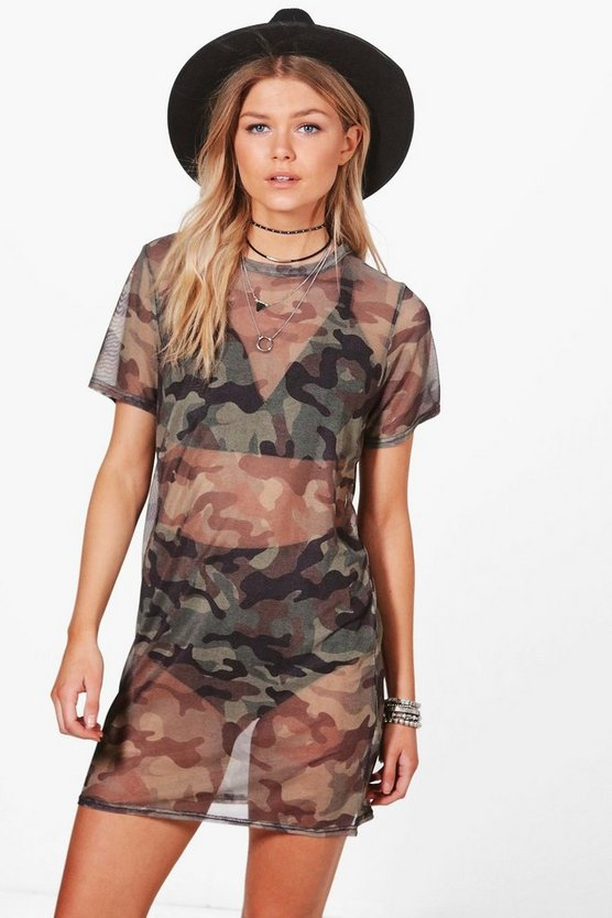 Petite Lauren Camo Oversized T-shirt Dress