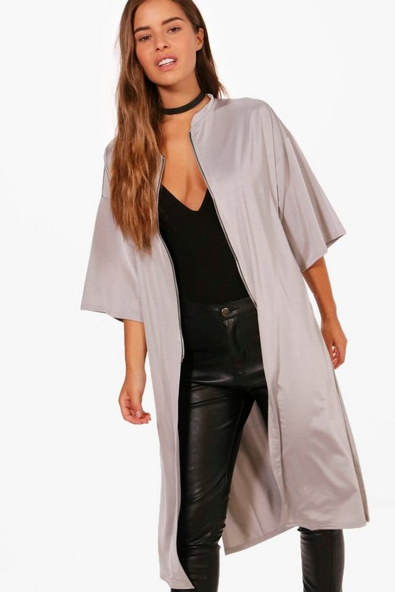 Petite Evie Zip Front Oversized Duster Jacket