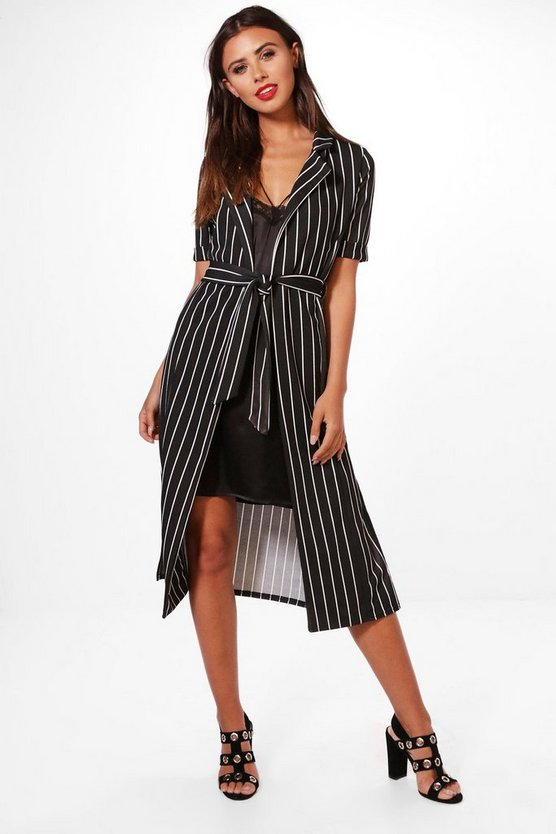 Petite Emily Stripe Belted Duster Jacket