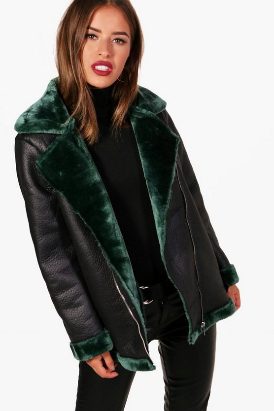 Petite Georgina Faux Fur Lined Luxe Aviator Coat