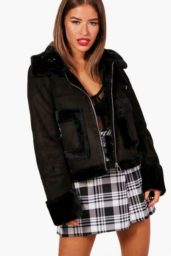 Petite Ellie Faux Fur Lined Cropped Coat