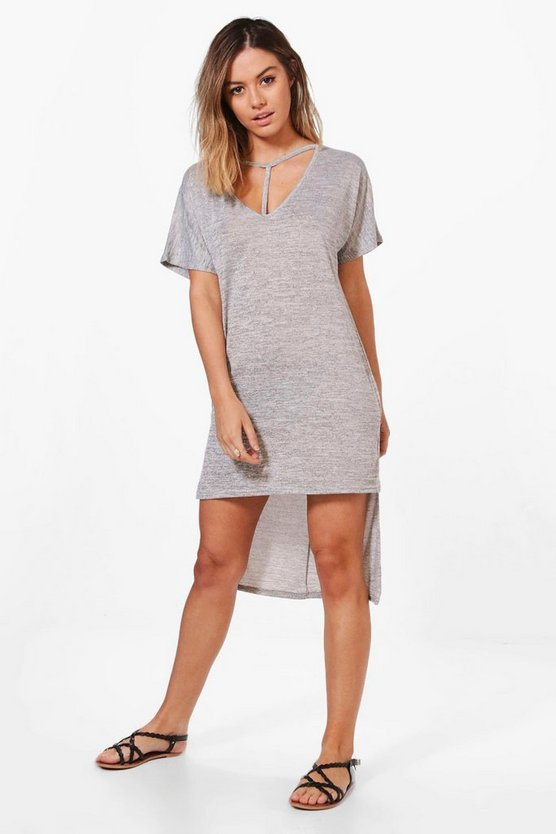 Petite Georgie Strap Detail Dip Hem Tunic Dress