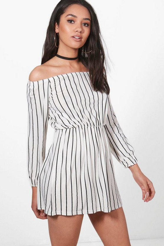 Petite Imogen Stripe Off The Shoulder Dress