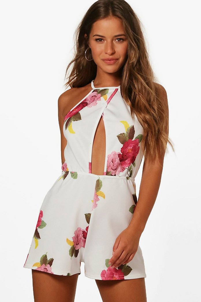 Petite Holly Floral White Plisse Playsuit