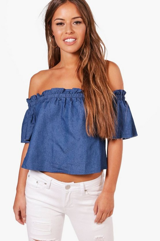 Petite Emilie Stripe Ruffle Off The Shoulder Top