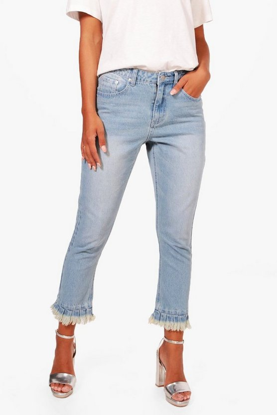 Petite Julia Raw Hem Light Wash Ankle Grazer Jean