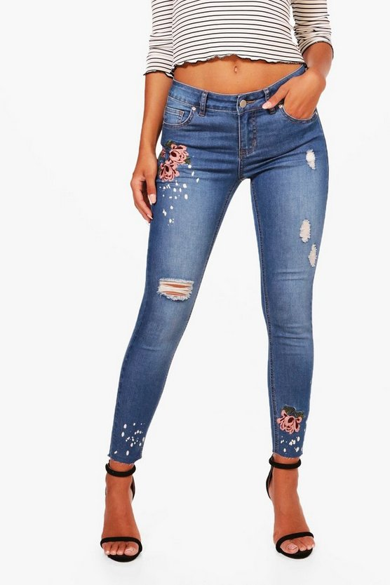 Petite Loren Blossom Embroidered Skinny Jean